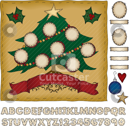 Build Your Own Family Christmas Tree stock vector clipart, Put holiday spin on your family tree! With bonus cameos and name plates, as well as a complete hand drawn alphabet with numbers, this scrapbook page is infinitely customizable. Each cameo is individually grouped for easy duplication or removal. by Neeley Spotts