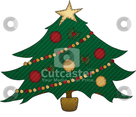 Folk Art Christmas Tree stock vector clipart, A country Christmas tree decorated by Neeley Spotts