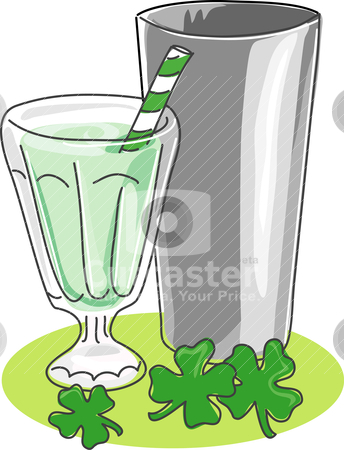 Shamrock Shake stock vector clipart, A stylized sketch of a milkshake in a soda glass with stainless steel mixing cup and shamrocks.