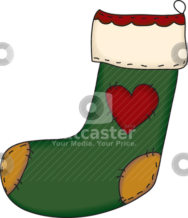 Folk Art Christmas Stocking stock vector clipart, A country style Christmas stocking by Neeley Spotts
