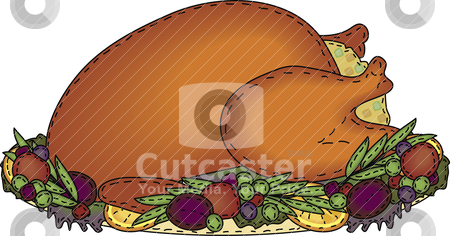 Folk Art Roasted Turkey with Stuffing stock vector clipart, A folk art styled platter of roast turkey with stuffing and trimmings by Neeley Spotts