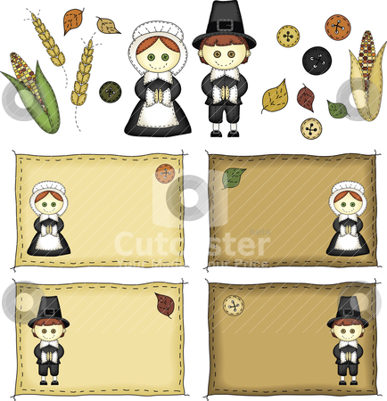 Folk Art Pilgrims and Thanksgiving Icons stock vector clipart, A set of Thanksgiving icons and pilgrims in folk art style by Neeley Spotts