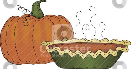 Pumpkin and Pumpkin Pie stock vector clipart, A folk art styled pumpkin and pumpkin pie by Neeley Spotts