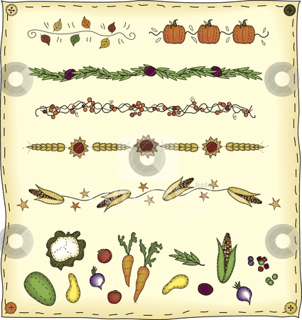 Harvest Design Elements stock vector clipart, A collection of folk art styled dividers and elements by Neeley Spotts