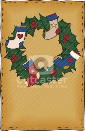 Folk Art Christmas Card stock vector clipart, A country stocking wreath proportionately sized for standard half-sheet greeting card designs by Neeley Spotts