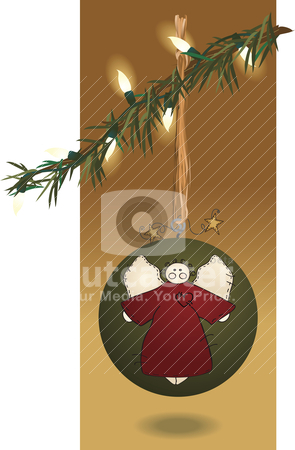 Folk Art Christmas Ball & Lights stock vector clipart, An ornament with homespun primitive appeal by Neeley Spotts