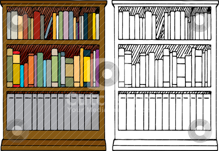 A Full Bookshelf Stock Vector