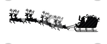 Santa claus and his sledge stock vector clipart, Silhouette of santa claus and his sledge, for christmas design by Mtkang