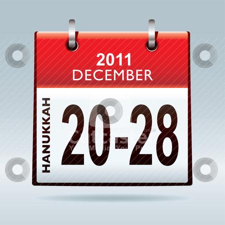 Hanukkah 2011 stock vector clipart, Jewish hanukkah 2011 dates in december with red calendar by Michael Travers