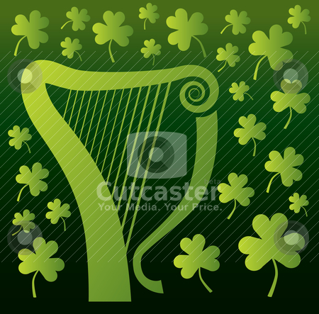 Harp and Shamrocks stock vector clipart, An Irish or Celtic harp surrounded by shamrocks on a dark green background. by Jamie Slavy