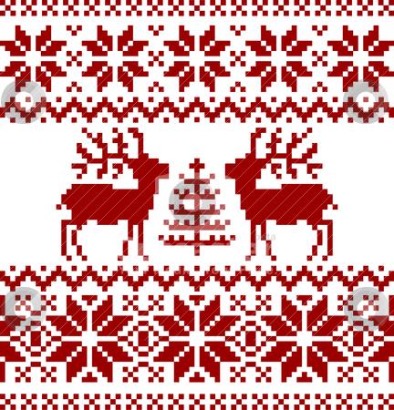 Christmas norwegian pattern stock vector clipart, Collection of christmas norwegian pattern, isolated on white background. by Ela Kwasniewski