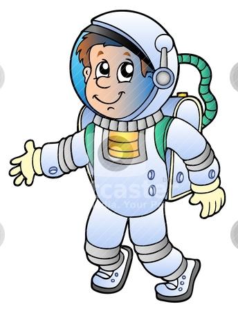 Cartoon astronaut stock vector clipart, Cartoon astronaut on white background - vector illustration. by Klara Viskova