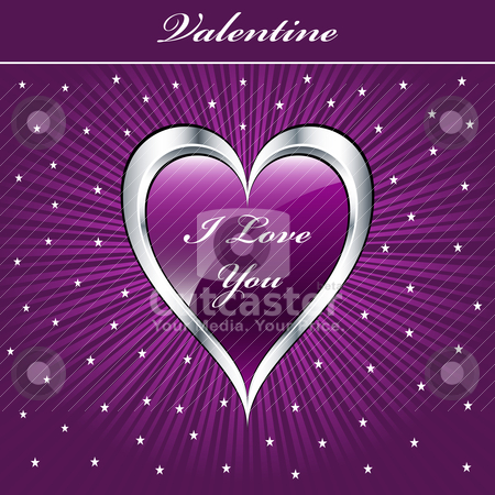 Valentine love heart stock vector clipart, Valentine love heart in purple and silver on sunburst background with stars. Copyspace for text. by toots77