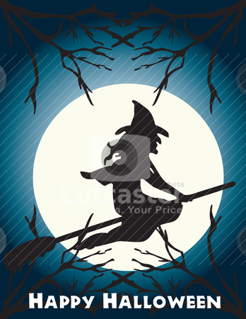 Halloween flying witch on a broom scene stock vector clipart, Halloween flying witch on a broom scene, full . Can be fully scaled. by Patrick Guenette