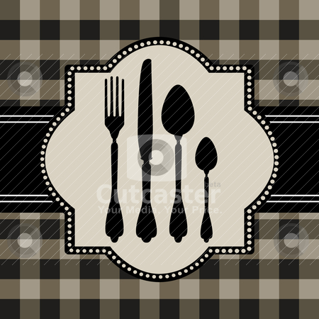 Menu of food card stock vector clipart, Vector silhouettes of cutlery, on green tablecloth and checkered pattern, design for food or restaurant concept. by Ela Kwasniewski