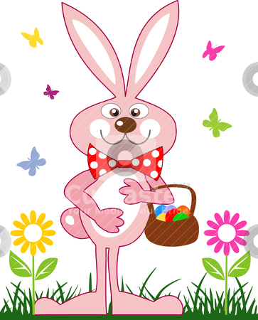 Pink rabbit with a basket of easter eggs stock vector clipart, Pink rabbit easter bunny, rabbit in the grass of a flower field with a basket of eggs. File included Eps v8 and 300 dpi JPG by Ela Kwasniewski