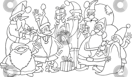 Santa clauses group for coloring stock vector clipart, Cartoon illustration of santa claus group for coloring book by Igor Zakowski