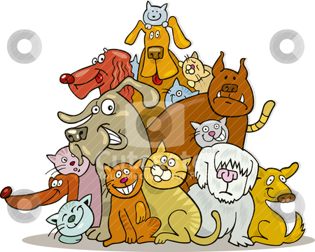 Cats and Dogs group stock vector clipart, Illustration of Cats and Dogs group in friendship by Igor Zakowski