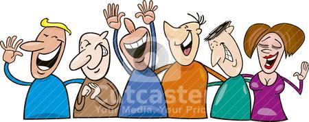 Group of laughing people stock vector clipart, Cartoon illustration of group of laughing people by Igor Zakowski
