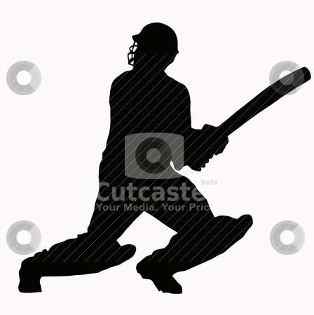 Sport Silhouette - Cricket Batsman stock vector clipart, Sport Silhouette - Cricket Batsman hitting ball by Snap2Art