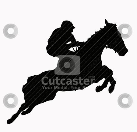 Sport Silhouette - Jokey stock vector clipart, Sport Silhouette - Jokey and horse jumping steeple by Snap2Art