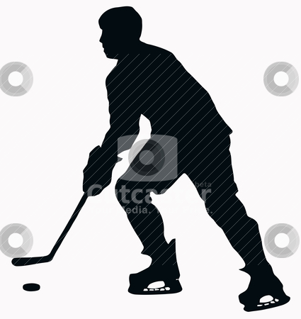 Sport Silhouette - Ice Hockey Player stock vector clipart, Sport Silhouette - Ice Hockey Player isolated black image on white background by Snap2Art