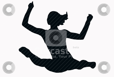 Sport Silhouette - Female Gymnast performing splits stock vector clipart, Sport Silhouette - Female Gymnast performing splits isolated black image on white background by Snap2Art