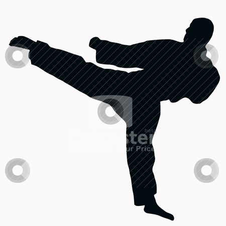 Sport Silhouette - Karate Kick stock vector clipart, Sport Silhouette - Karate Kick isolated black image on white background by Snap2Art