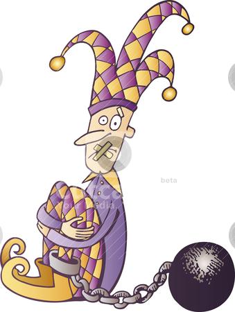 Jester censored stock vector clipart, Illustration of jailed and censored jester by Igor Zakowski