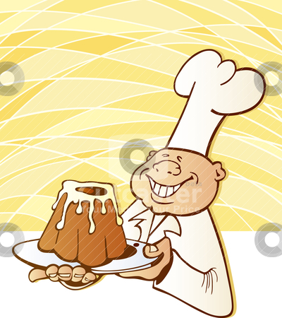 Cook chef with cake stock vector clipart, Illustration of happy cook chef with yummy cake by Igor Zakowski