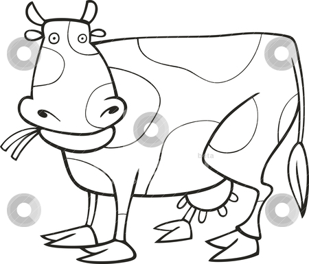 Funny Cow for coloring book stock vector
