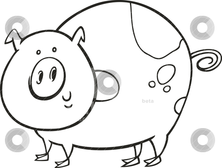 Spotted pig for coloring book stock vector clipart, Illustration of funny spotted pig for coloring book by Igor Zakowski