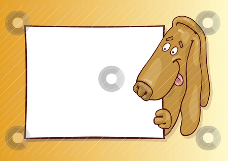 Basset dog with card stock vector clipart, Llustration of basset dog with card by Igor Zakowski