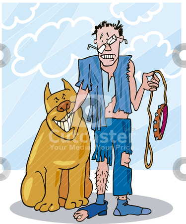 Bad dog and his battered owner stock vector clipart, Illustration of bad dog and his battered owner by Igor Zakowski