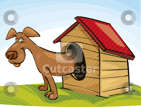 Dog in Doghouse stock vector clipart, Illustration of Dog in Doghouse by Igor Zakowski