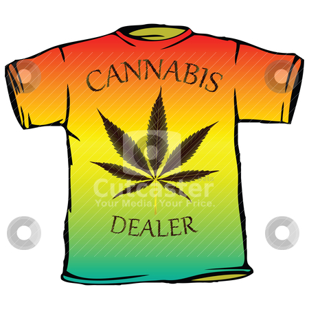 Cannabis dealer tshirt stock vector clipart, cannabis dealer tshirt by Laschon Robert Paul