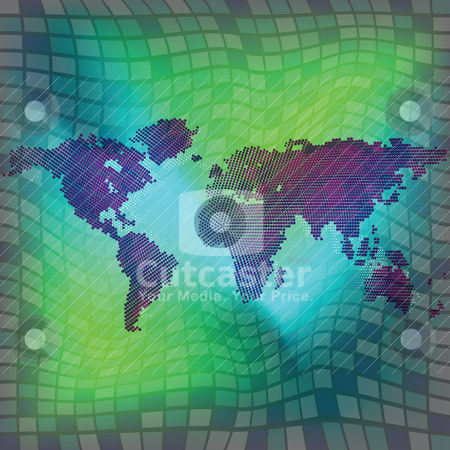 World map over squared background stock vector clipart, world map over squared background by Laschon Robert Paul