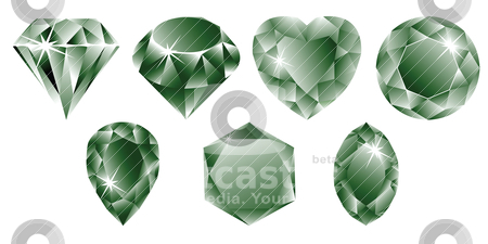 Green diamonds collection stock vector clipart, green diamonds collection by Laschon Robert Paul