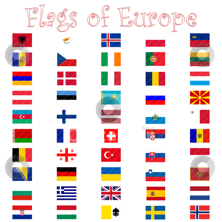Flags of europe against white stock vector clipart, flags of europe against white by Laschon Robert Paul