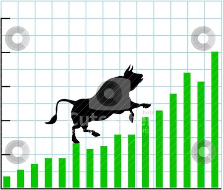 Up bull market rise bullish stock chart graph stock vector clipart, Bull climbs up a bullish growth graph of stock market investing profit chart by Michael Brown