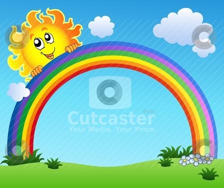 Sun Holding Rainbow On Blue Sky Stock Vector