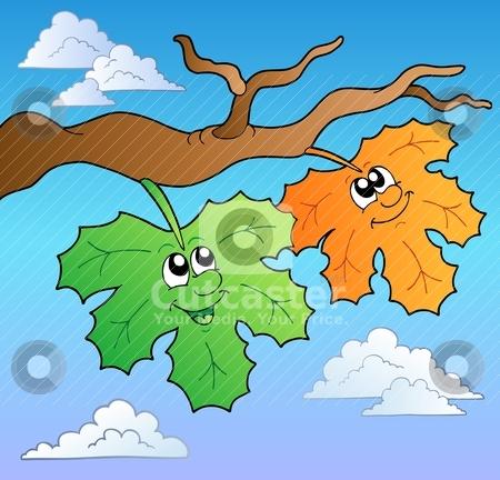 Two cartoon autumn leaves on sky stock vector clipart, Two cartoon autumn leaves on sky - vector illustration. by Klara Viskova