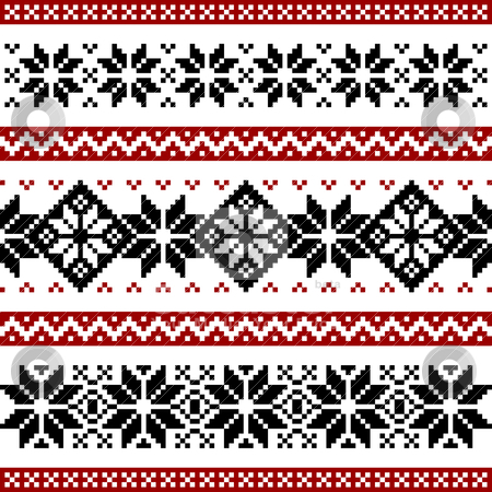 Nordic pattern stock vector clipart, Nordic pattern with snowflakes, black and red silhoeuttes isolated on white background. by Ela Kwasniewski