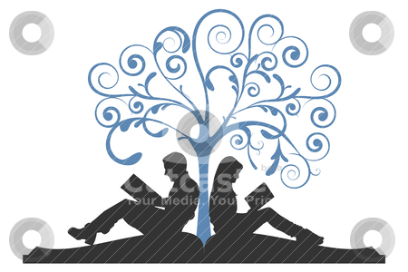 Couple Reading Under Tree stock vector clipart, Vector illustration of a couple sitting on a book, reading under a tree on a white background by Karima Lakhdar