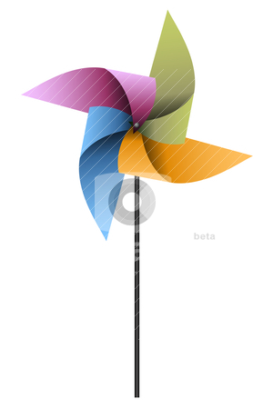 Colorful Pinwheel stock vector clipart, Vector illustration of a colorful pinwheel on a white background by Karima Lakhdar