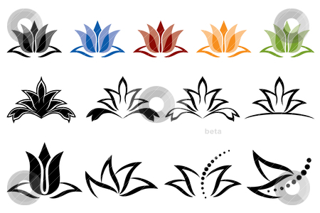 Lotus Icons stock vector clipart, Vector illustration of lotus flower icons on a white background by Karima Lakhdar
