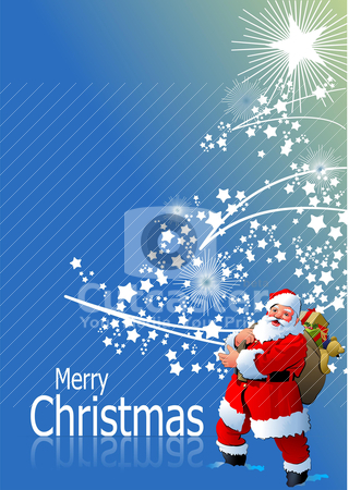Blue abstract Christmas background with white snowflakes and San stock vector clipart, Blue abstract Christmas background with white snowflakes and Santa image. Vector illustration by Leonid Dorfman