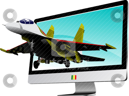 Combat started from flat computer monitor. Display. Vector illus stock vector clipart, Combat started from flat computer monitor. Display. Vector illustration by Leonid Dorfman