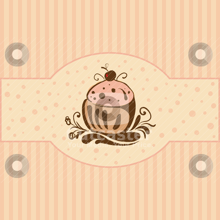 Cupcake stock vector clipart, Cupcake - Card template, vector illustration by th12