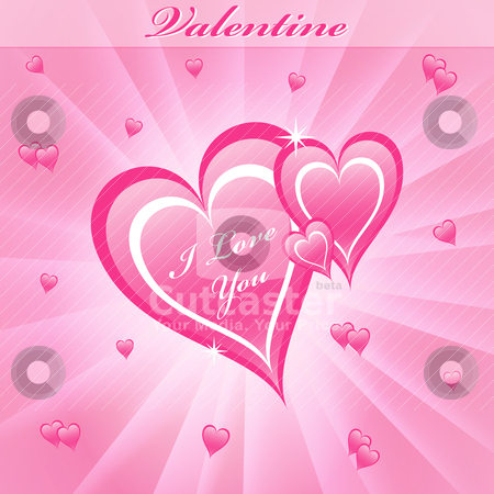 Valentine love hearts pink stock vector clipart, Valentines day love hearts in pink on a dreamy pink sunburst background. by toots77